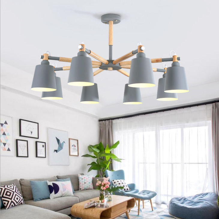 Nordic pendant lights for living room Dining Modern Colorful Restaurant Coffee loft Bedroom Lighting Iron Solid Wood E27 Holder modern simple european style dining room lighting american hollow carved iron bedroom pendant lights