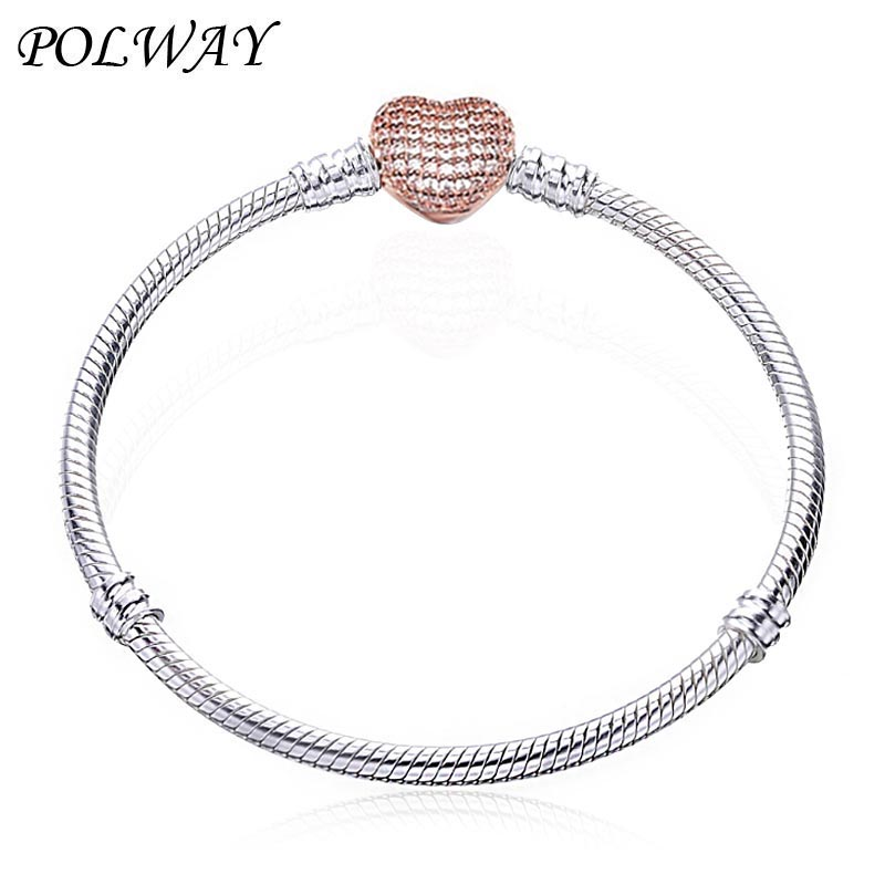 2019 Hot Silver Plated 3mm Basic Snake Chain Fit pan Bracelet DIY Charms Beads Jewelry Original Bracelets & Bangles