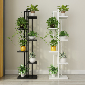 Standing flower shelf .Living room & balcony Plant shelf . flower pot stands with wood plant bison rolling grill