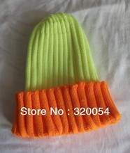 Free shipping 2013 winter Sweet and lovely lady no eaves Fluorescent color stitching knitted caps Woman fashion conical hats