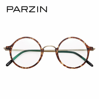 PARZIN Retro Round Optics Myopia Glasses Frame Cute Tortoiseshell Metal Eyeglasses Frame Women Prescription Frame For