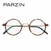 PARZIN Retro Round Optics Myopia Glasses Frame Cute Tortoiseshell Metal Eyeglasses Frame Women Prescription Frame For