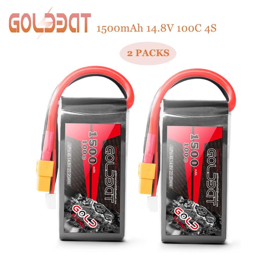 2 unités GOLDBAT 1500 mah Lipo Batterie 14.8 v batterie lipo 4 s Batterie 14.8 v Lipo batterie de drone 100C avec XT60 plug pour fpv camion radio-télécommandé