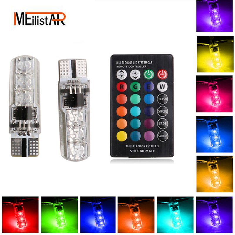 The latest 2x T10 bulb with remote control T10 W5W 168 194 SMD 6-LED 5050 automatic LED wedge light rear lights parking lights carprie super drop ship new 2 x canbus error free white t10 5 smd 5050 w5w 194 16 interior led bulbs mar713