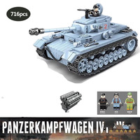 716pcs Military series WWII Germany Panzerkampfwagen IV Building Blocks army soldier Figures Toys for Children gifts