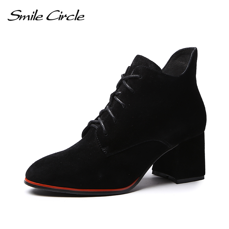 Smile Circle women Suede Ankle boots Round toe Lace-up High heel short boots 2018 Autumn High-quality Women shoes black smile circle suede cow leather chelsea boots women ankle boot fashion rivets round toe lady shoes women high heel boots