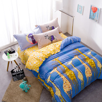 Blauw en Geel Cartoon Print Giraffe Beddengoed Sets Queen Size Pure katoen Gedrukt Dekbedovertrek Lakens Kussensloop Bed in een Zak