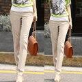 2016 novas Mulheres primavera Reta Calças Moda Meados de Cintura Magro Calças OL Lady Carreira Ocidental-Estilo Calça mais tamanho G262