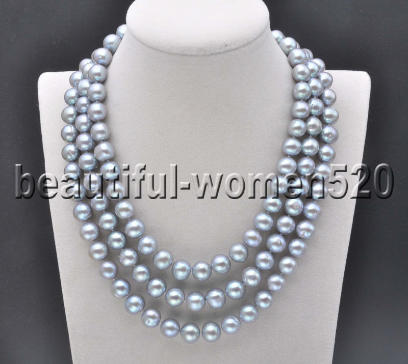 Z8132 11mm Gray Round Freshwater Cultured Pearl Necklace 50inchZ8132 11mm Gray Round Freshwater Cultured Pearl Necklace 50inch