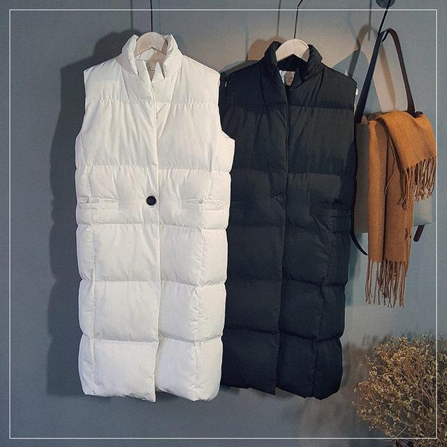 Womens Long Vests Winter Outerwear White Black Woman Vest Casual Waistcoat Women Warm Vest Thicken Cotton Veste Femme