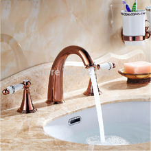 New Arrival Deck Mount Widespread Basin Faucet Double Handles Rose Golden Hot and Cold Bathroom Mixer