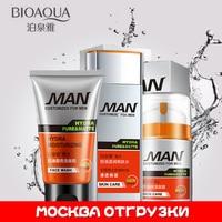 BIOAQUA גברים גברים טיפוח פנים ניקוי עמוק ניקוי + טונר + תחליב טיפוח עור מרענן שליטת שמן לחות לחות