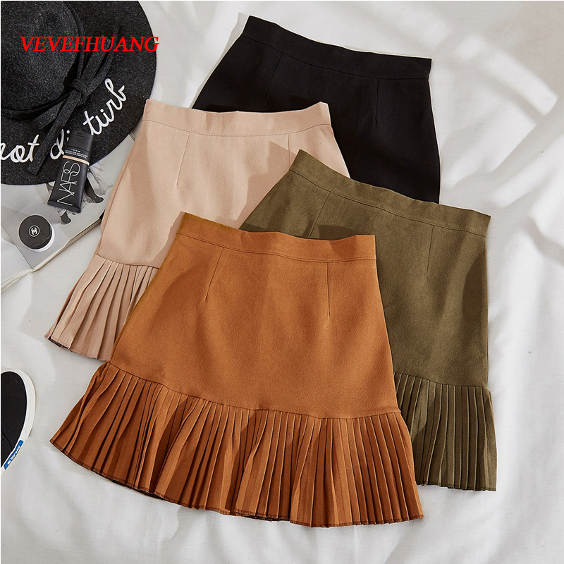VEVEFHUANG Autumn Winter Women Mini Pleated Skirt Suede Solid Multi Colors High Waist School Girls Femininas Skater Skirt