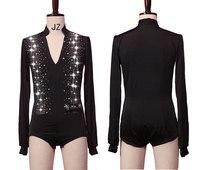 Shiny Rhinestone Latin Dance Tops Shirts For Mens V neck Dance Shirt Ballroom Latin Dancing Clothes Male Competition Dancewear