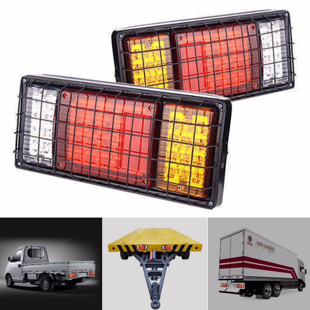 2X 40 LED Trailer Truck Durable Tail Lights Bar High Brightness Turn Signal Brake Running Reverse Light With Iron Net Protection