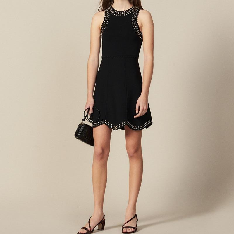 Femmes tricoté réservoir noir robe 2019 nouvelle épaule diamant partie Mini robe-in Robes from Mode Femme et Accessoires    1