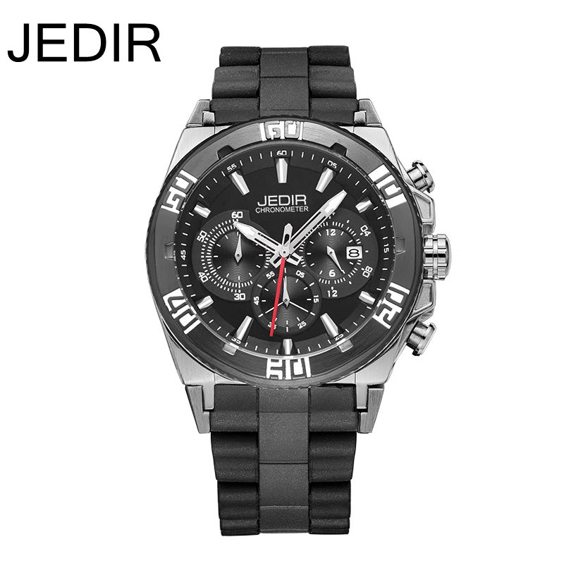 JEDIR 2016 Chronograph Hours Date Function Men Sports Watch Silicone Luxury Watch Men Top Brand Military Watch Relogio Masculino skone chronograph 6 hands 24 hours function men sport watch silicone luxury watch men top brand military watch auto date relogio