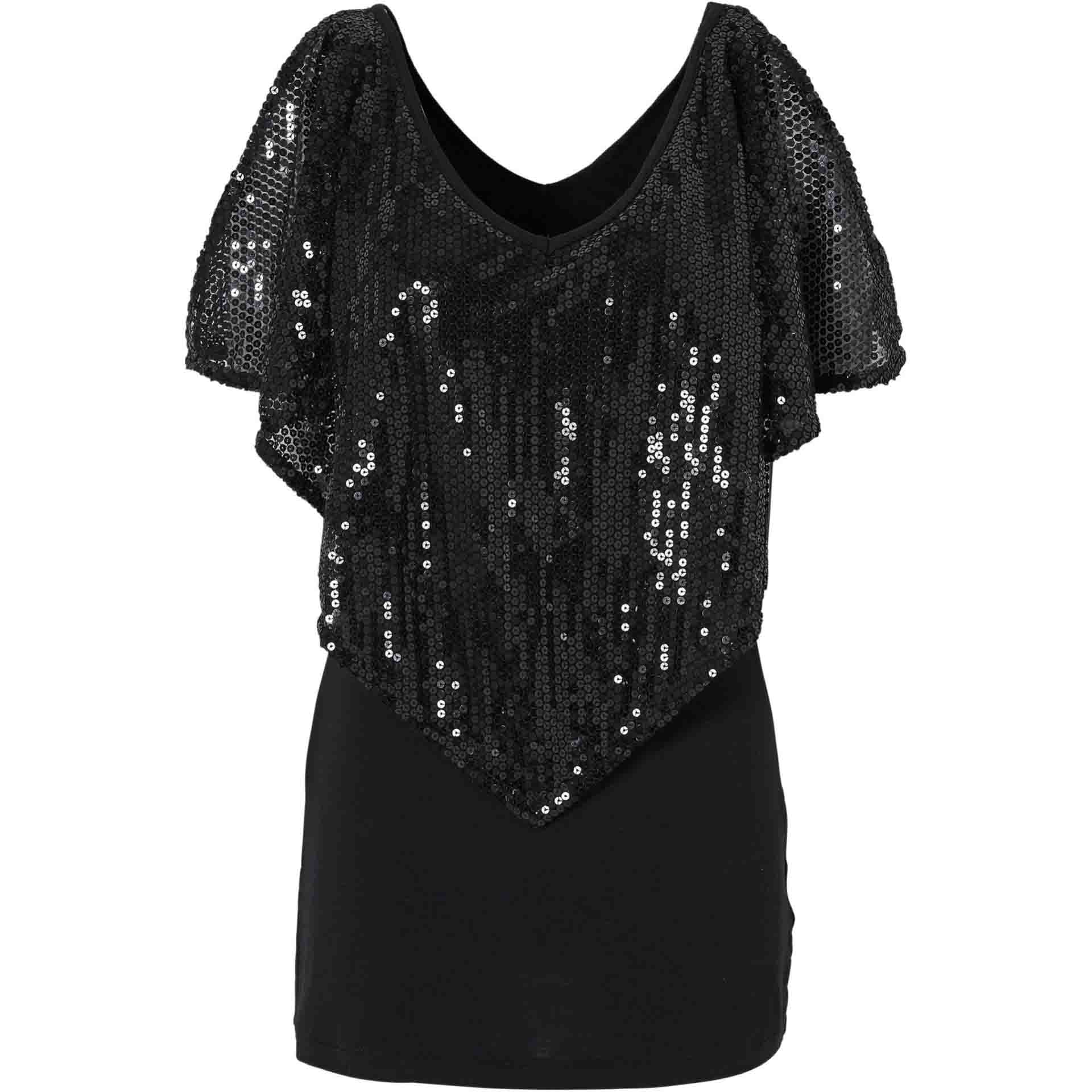 Spring European And American Fashion Women s Wear Pearl Segments Sleeve T shirt Ladies Bling Sequined
