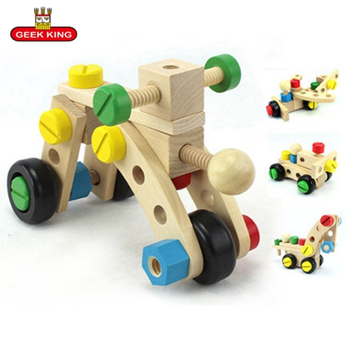 wood  car combination removable toy fun wooden math for kids baby assembling toys disassembly montessori Educational