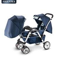 Twin Детские коляски, складной двойной тележка, четыре колеса амортизатор, легко сиденья и лежащего каретки
