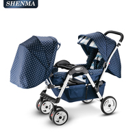 Twin Baby Stroller Foldable Double Trolley Four Wheel Shock Absorber Easy To Seat And Reclining Carriage