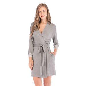 Image 4 - 2020 Summer Women Kimono Robe Soild Sleepwear Nightwear Female Soft Modal Casual Bathrobe Belt Elegant Bathroom Spa Robe