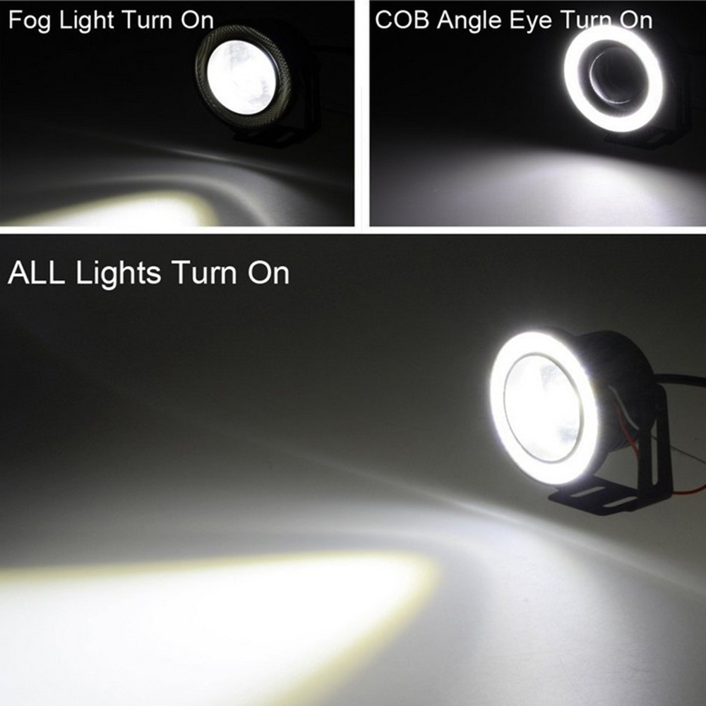 Car 1 Set 3 5 3 0 2 5 inch COB Angel Eyes Fog Lights Led Car Headlight Lamp DRL Universal Daytime running light 89mm 76mm 64mm in Car Light Assembly from Automobiles Motorcycles