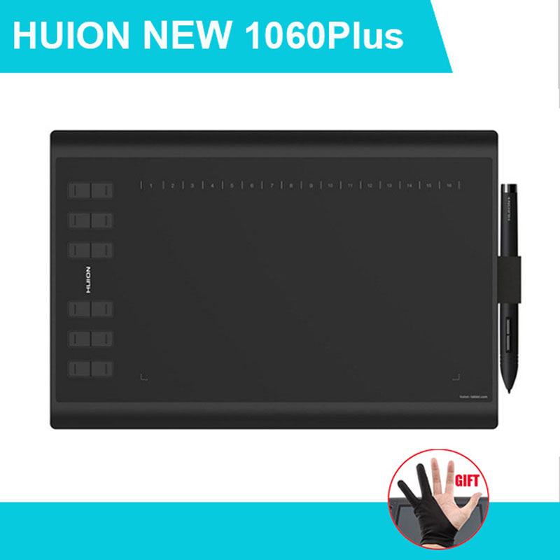 Huion 1060 Plus Graphic Drawing Digital Tablet w/ Card Reader 8G SD Card 5080 LPI 12 Express Key 16 Software Key Glove as gift huion h610 8 expresskey usb graphic pen tablet black