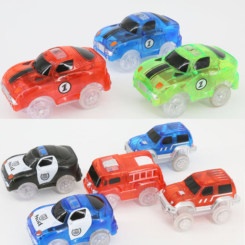 LED Light up Cars for Tracks Electronics Car Toys With Flashing Lights Fancy DIY Toy Cars For Kid Tracks parts Car for Children Pakistan
