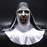 2018 The Nun Horror Mask Cosplay Valak Scary Latex Masks with Headscarf Veil Hood Full Face Helmet Horror Costume Halloween Prop