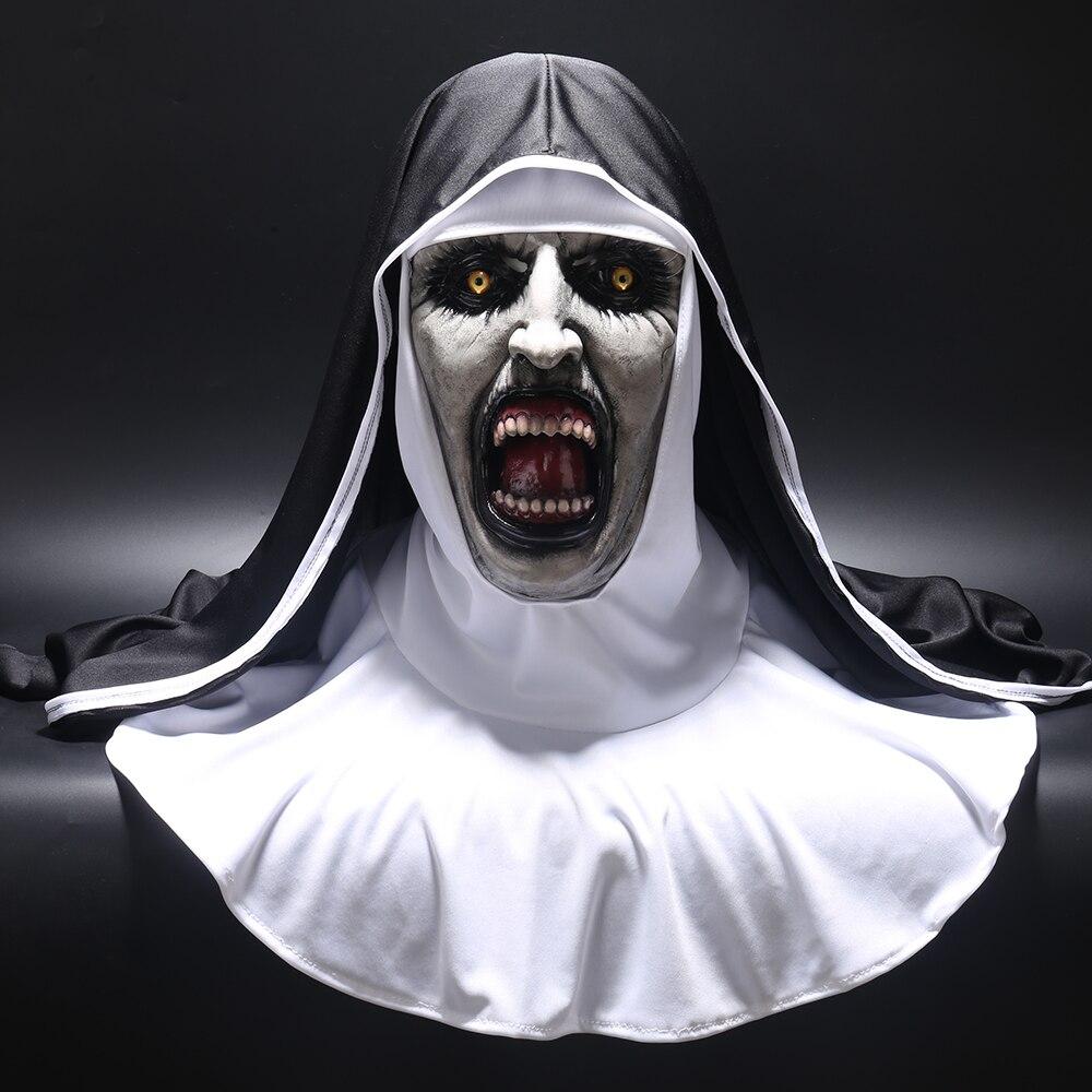 2018 страшная маска монашки, косплей, валак, страшные латексные маски с платком на голову, вуаль, капюшон, полный шлем, страшный костюм на Хэлло