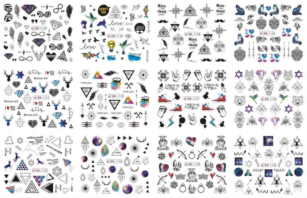 12 แผ่น/Lot BN1129-1140 สีดำ Starry Sky สามเหลี่ยม Alien เล็บสติกเกอร์รูปลอกน้ำ Tattoo ตกแต่งฟอยล์ห่อ