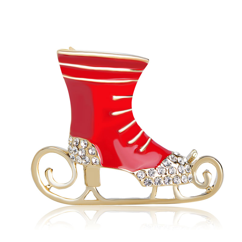 Blucome New Fashion Christmas Skating Boots Brooches For Women Kids Dress Scarf Decoration Gold Color Enamel Crystal Broches Pin