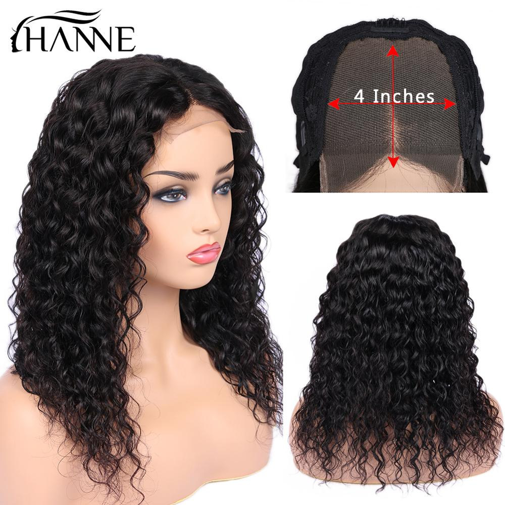 HANNE Hair 4*4 Lace Closure L/M/R 3 Part Wigs Brazilian Remy Wigs Glueless Water Wave Lace Human Hair Wig For Black Women