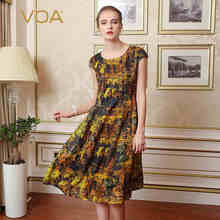 VOA Brand Silk Women Casual Dresses A-Line Print Short Sleeves O-Neck Knee-Length 2017 New Fashion Summer Vestidos Female A6300