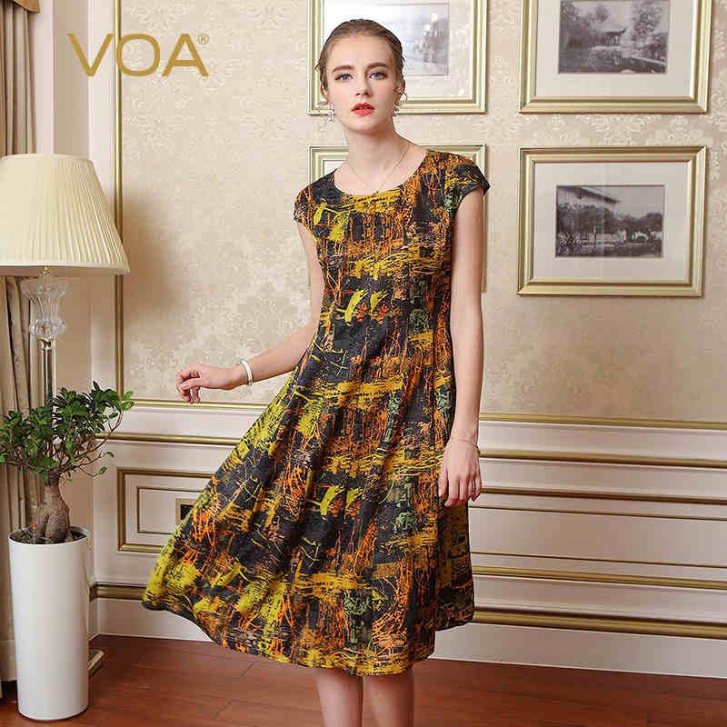 VOA Soie Femmes Casual Robes A-ligne Imprimer Manches Courtes O-cou Genou-Longueur 2017 Nouvelle Mode D'été Robes Femme A6300
