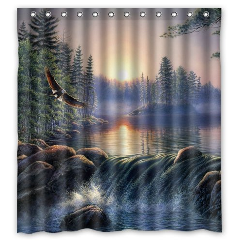 CHARMHOME Custom Shower Curtain Fog Sunrise Forest Nature River Bear Eagle Waterproof Fabric Bathroom