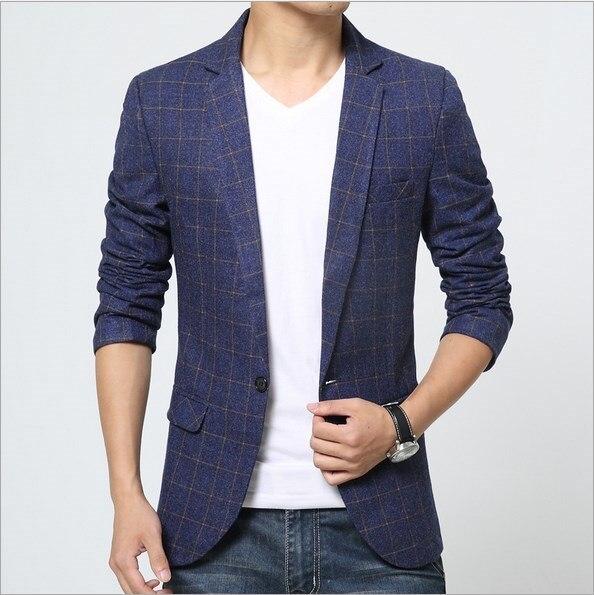 Aliexpress.com  Buy Korean Style Slim Fit Blazer Jacket For Men Business Designer Mens Plaid ...