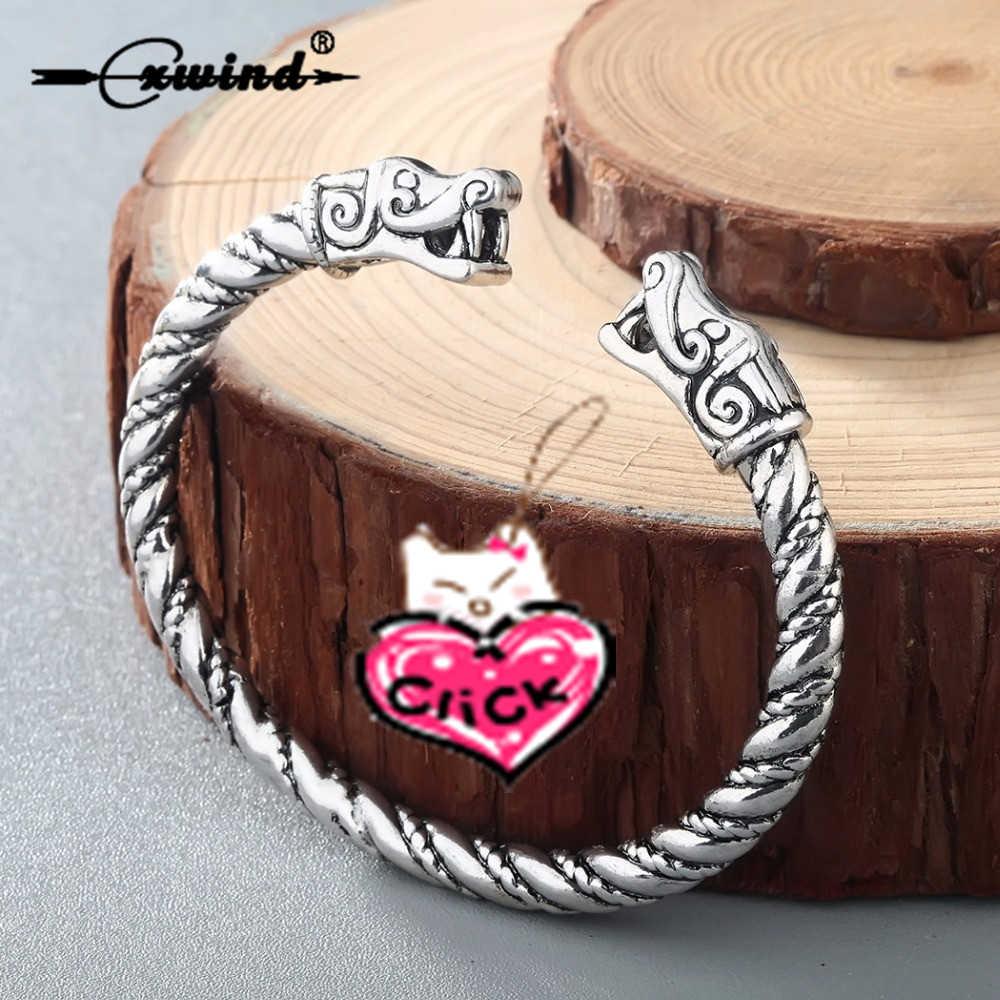 Cxwind Viking Animal Wolf Bracelets For Women Male Fashion Twisted Accessories Retro Dragon Bracelets Wristband Cuff Bangles