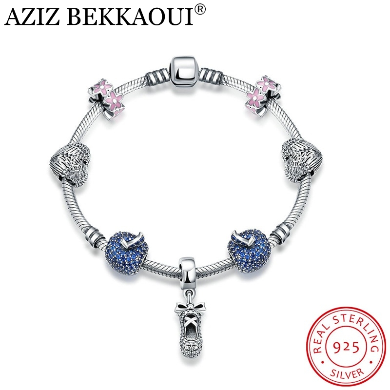 Authentic Silver Heart Charm Bracelets for Women 925 Sterling Silver Original European Blue Apple Charm Screw Bracelet & Bangle blue original letter wide bangle