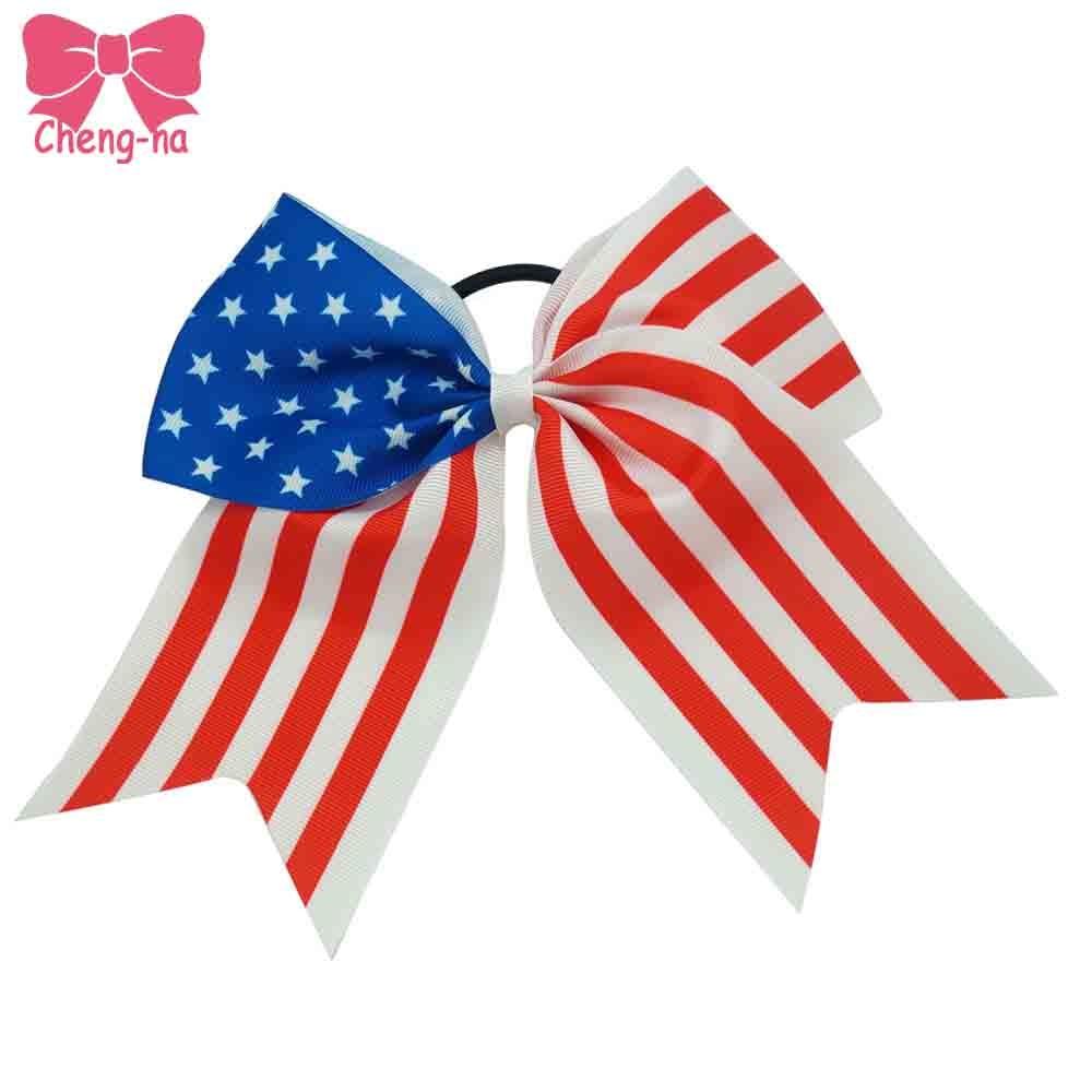 Ha hair bow ribbon wholesale - Big 7 Inch Grosgrain Ribbon American Flag Hair Bow 4th Of July Patriotic Hair Bow With
