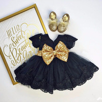 New Navy Blue Baby Girls Birthday Dress Lace Appliques Toddler Pageant Party Dresses With Gold Sequin