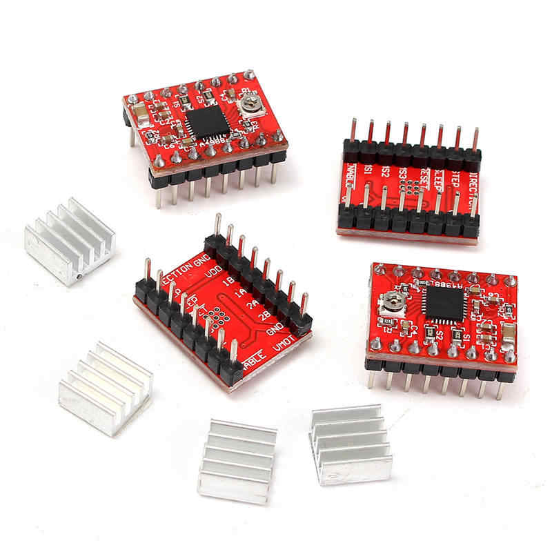1PC New Red 68 x 53 x 18 mm Engraver CNC Shield Board + 4Pcs A4988 Stepper Motor Driver For Arduino Engraver Integrated Circuits