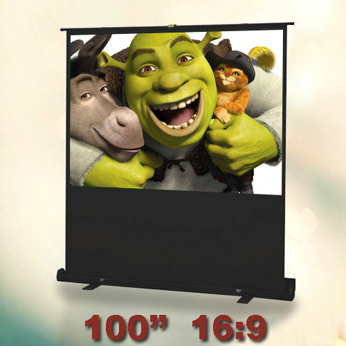 100 inches 16:9 Portable Floor Screen Floor Standing Projection Screen Pull Up Projector Screen White Fabric Fiber Glass fast free shipping 100 4 3 tripod portable projection screen hd floor stand bracket projector screen matt white factory supply