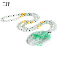 TJP изумруд красивый камень нефрита бамбука Jewelry аксессуары Аутентичные ожерелье WH1314 Бесплатная доставка