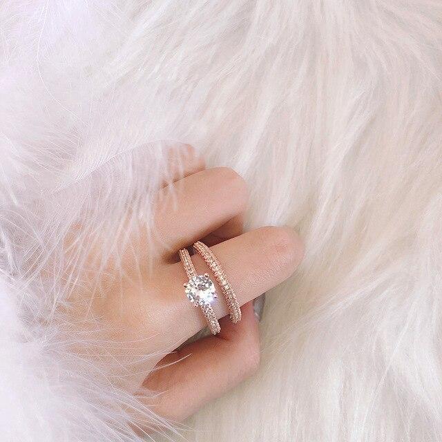 ZN Wedding Engagement Rings for Women  Rose Gold White gold Women Fashion 1