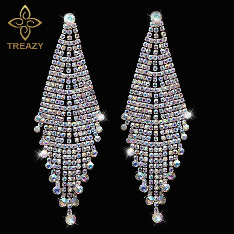 TREAZY Luxury Bridal Crystal Tassel Drop Earrings Colorful Rhinestone Long Dangle Earrings for Women Wedding Costume Jewelry pair of stylish rhinestone embossed leaf tassel earrings for women