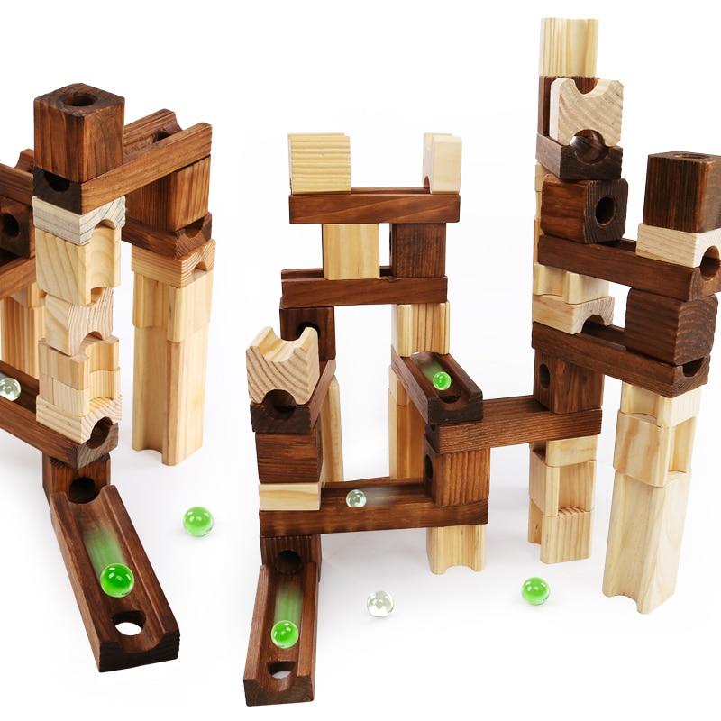 Brand Children Wooden Marble Runs Block Toy with Glass Beads Kids Building Construction Assemble Rail Blocks
