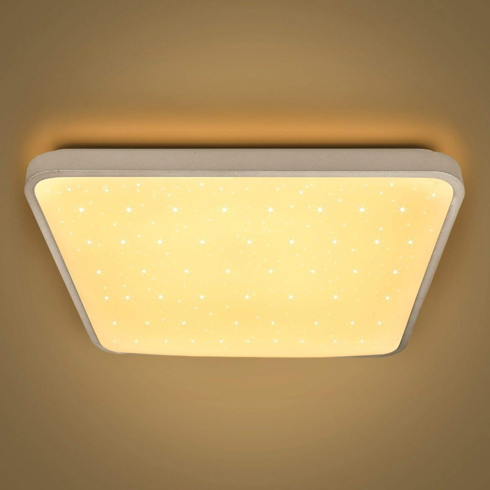 Starry LED Ceiling Lamp Modern Square Shape 24W 50W 60W Color Warm White Indoor Lighting Fixtures Living Room Bedroom Kitchen Starry LED Ceiling Lamp Modern Square Shape 24W 50W 60W Color Warm White Indoor Lighting Fixtures Living Room Bedroom Kitchen