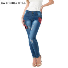 Rose Embroidery Jeans 2017 Women Boyfriend Hole Ripped Plus Size Demin Jeans Pants Female Casual High Waist Elastic Sexy Jeans